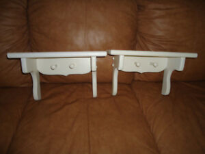 TWO WOODEN PINE SHELVES