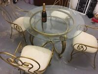 Unusual Metal Conservatory Table and 4 chairs