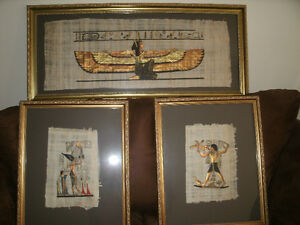 !!!! REDUCED PRICE !!!! 3 EGYPTIAN GOLD FRAMED PAPYRUS PAINTINGS