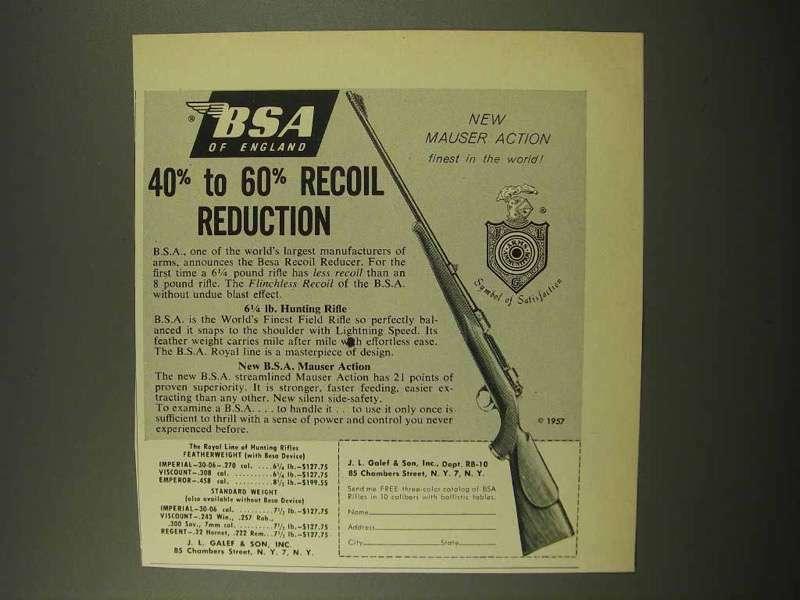 1957 BSA Rifle Advertisement - Recoil Reduction