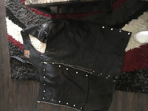 Harley chaps and leather jacket with body armour