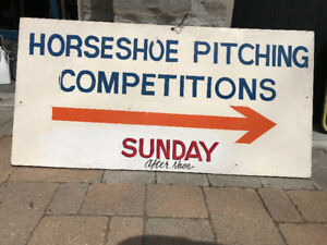 VINTAGE HAND PAINTED WOOD SIGN - HORSESHOE PITCHING COMPETITIONS
