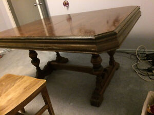 antique dining table one hardwood chair included