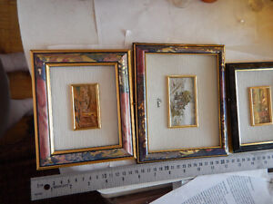 3-Vintage Oro Foglia Chromolithograph Pictures Wood Framed Italy