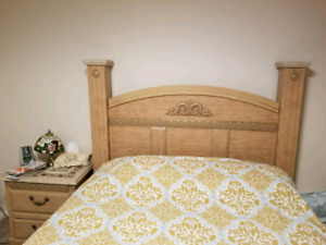 Queen bed with dresser and side table