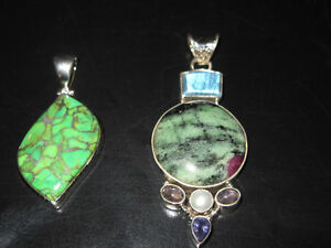 BRAND NEW STERLING SILVER TURQUOISE PENDANTS