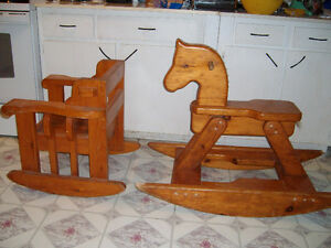 VERY STRONG SOLID WOOD ROCKING HORSE AND ROCKING CHAIR