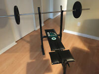 York 200 Folding Bench Press Pliable + poids/weights