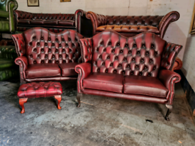 Thomas Lloyd Oxblood 2 Seater Queen Anne Sofa
