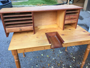 Hand built table with shelf.