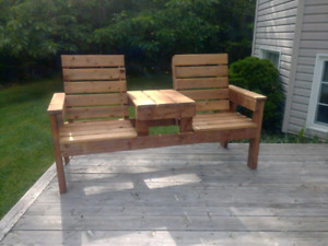 Double chair with table bench
