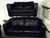 Free delivery 🎅 black leather 3 and 2 sofas