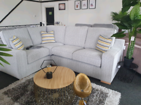 SALE! NEW Bleinham Silver Fabric Corner Sofa DELIVERY AVAILABLE