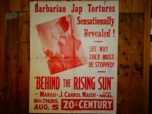 "Original WWII Era ""BEHIND the RISING SUN"" Large Billboard Poster"