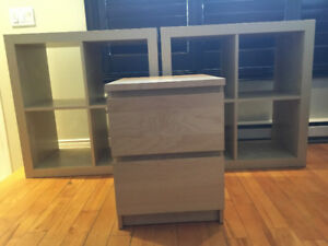 Two Ikea shelf units and a 2 drawer chest