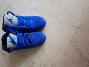 Womens Jordan retro 5 blue suede