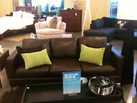 Urban Barn Genuine Leather Sofa couch brown