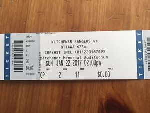 REDUCED 3 Kitchener Rangers tickets (standing room)