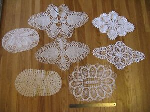 7 Assorted Oval Doilies - great for vintage wedding decor.