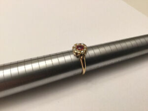 14k Gold and natural red Garnet ring