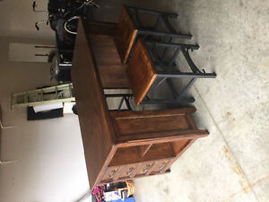 All Wood Kitchen Table with 4 Bar Stools