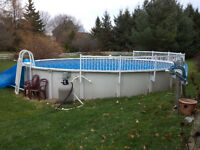 27 Foot Round Above Ground Resin Swimming Pool 2 Years Old