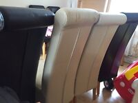 4 solid oak and leather dining chairs