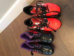 Girl's soccer cleats.  Size 3. Indoor and outdoor cleats.
