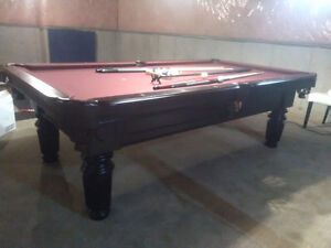 """8' Solid Wood Pool Table 1"""" Slate Very Good Condition"""