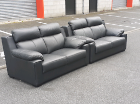Pair of 2 Seater Black Leather Sofas 🤩EXCELLENT CONDITION 🤩