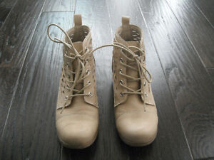 Ladies Beige Material Girl Ankle Boots Size 8