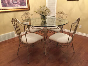 Glass & Wrought Iron Dining Set
