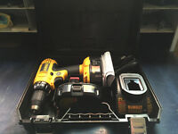 Brand new dewalt 18v drill,charger & case-2 older batterys