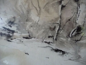 "Winter Abstract W/C by John Bennett RCA, OSA, ""Hint of Spring"" Stratford Kitchener Area image 8"