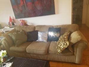 urgent sale 2 pc couch set khaki color corduroy fabric excellent