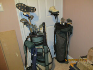 Two sets Taylor made Golf clubs, bags, shoes size 10 and 8