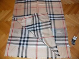 New Large Burberry Scarf Genuine Silk with Tags £60 ON OFFER