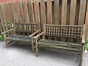 Rustic deck benches