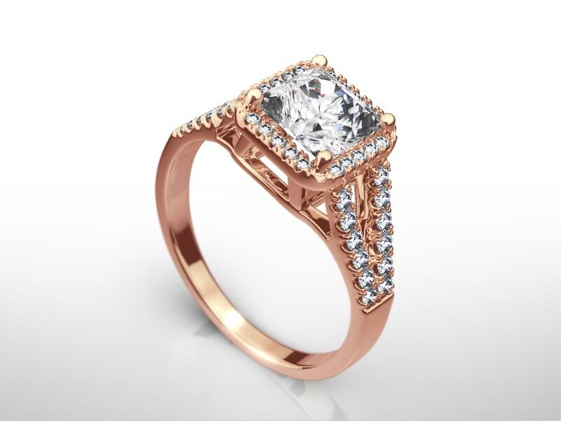 2 1/4 Ct Radiant G/si1 Diamond Solitaire Engagement Ring  Rose Gold Enhanced