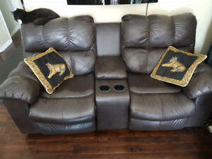 leather couch and nice 3 drawer