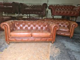 Tan Barker & Stonehouse Chesterfield Sofa