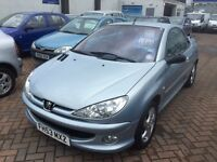 2003 (53) PEUGEOT 206 CC 1.6 CONVERTIBLE. WILL BE SOLD WITH NEW MOT. SERVICE HISTORY. BARGAIN.