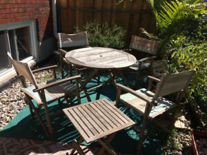 5-Piece Wood Patio Set - large round table & 4 chairs