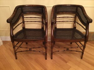 Mid century faux bamboo chairs