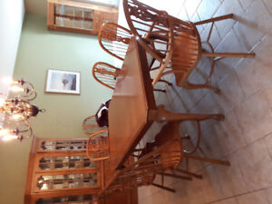 Dining Table, 8 chairs,  buffet, corner cabinet set