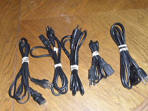 Lot of 5 Power Cords For Desktop Computer/Monitor