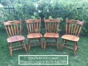 Solid wood chairs, wicker chairs, bar stool, patio table etc