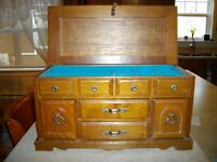 JEWELLERY BOX - SOLID WOOD C/W SOFT BLUE PADDING