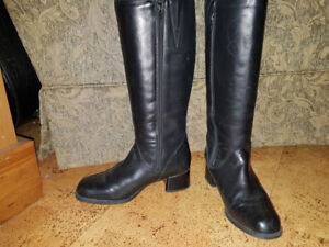 Women's leather dress winter boots, size 8/8.5