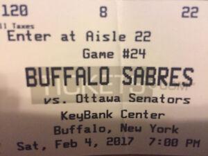 Buffalo Sabres VS Ottawa Senators Saturday February 4, 2017 7PM